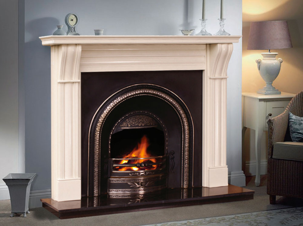 Dublin Corbel Marble Fireplace in Ivory Pearl Marble | Marble ...