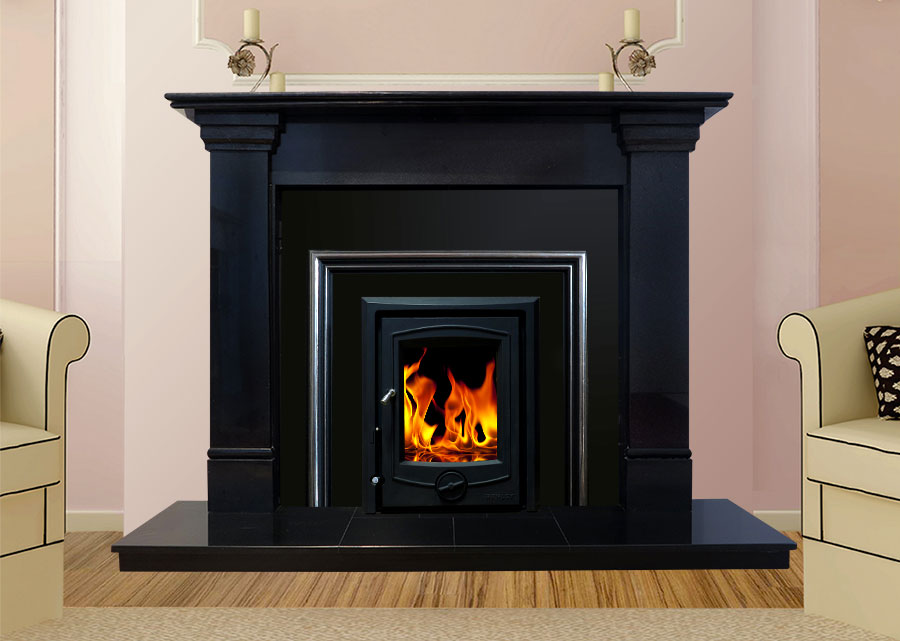Oslo Marble Fireplace In Black Granite Marble Fireplaces