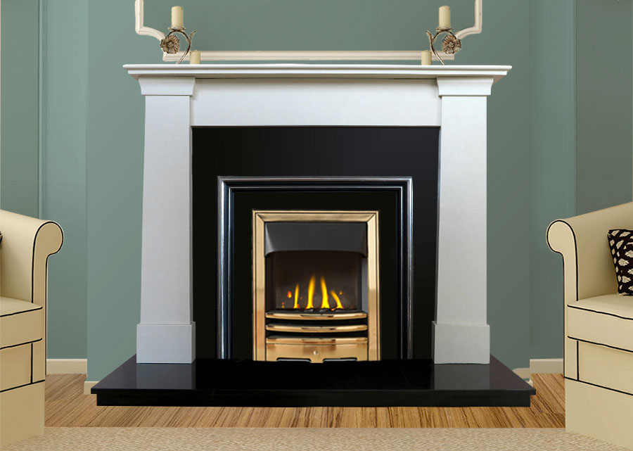 Oslo Marble Fireplace in Ivory Pearl